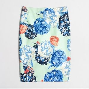 JCrew Factory floral basketweave pencil skirt
